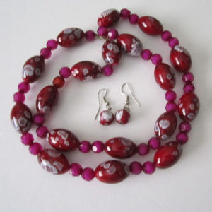 Red Pink Glass Bead Necklace Earrings Set Handmade